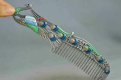 Collectable Handwork Cloisonne Carved Phoenix Inlay Agate Auspicious Royal Comb