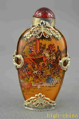 Collectable glass Armor miao Silver Carved Butterfly Dragon Rare Snuff Bottles