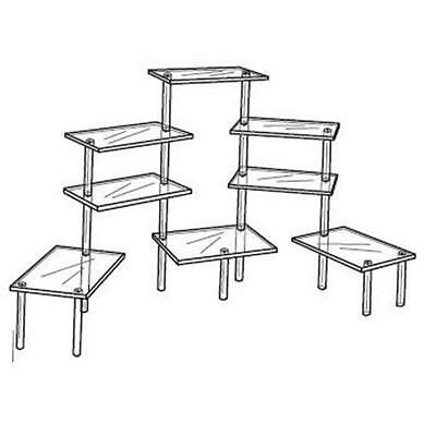 """Acrylic Tiered 8 Table Riser Figurine Display Stand Set 4.5 x 9"""" Shelves"""