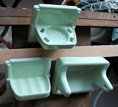 Vintage Jadeite?  Green Porcelain Recessed Tile Toilet Paper , Soap Tooth Holder