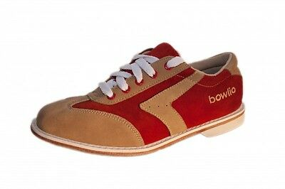 Bowlio Capri - Suede Leather Tenpin Bowling Shoes in red and beige for men and w
