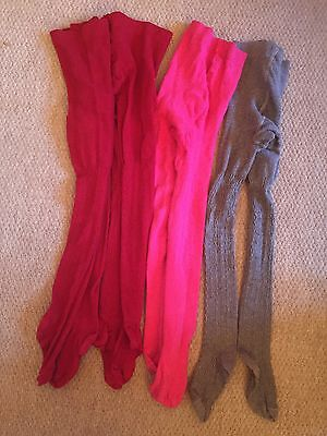 Bundle 4 Pairs Woolly Tights, age 7-8, Used condition, George