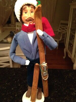 "Byers Choice Caroler Man with Skis 13"" 2001 As Is"