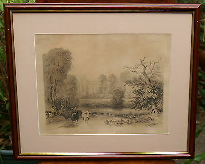 BOLTON ABBEY  LITHOGRAPH  c1845.   PLUS FREE LITHOGRAPH BY G HAWKINS