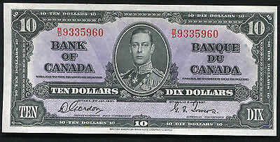 BC-24b 1937 $10 TEN DOLLARS BANK OF CANADA GORDON/TOWERS UNCIRCULATED