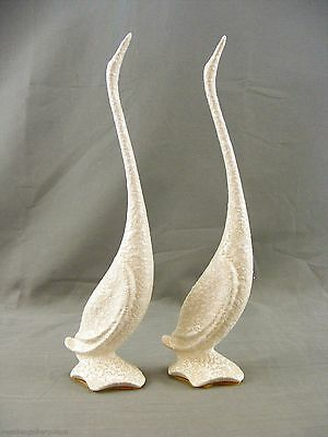 Set o 2 Long Neck Goose/Geese Figurines-One broken & Repaired