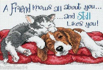 Dimensions Cat And Dog Cross Stitch Kit  A Friend Knows