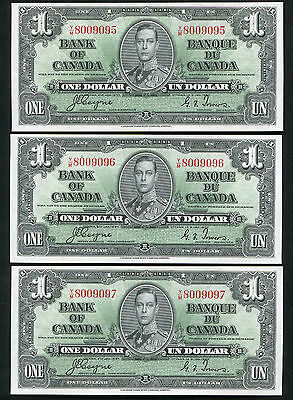 (3) CONSECUTIVE BC-21d 1937 $1 BANK OF CANADA BANKNOTES UNCIRCULATED