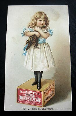 Victorian Trade Card  B.t. Babbitt's Best Soap~Victorian Girl With Cat - Kitty