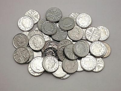 Lot of 50 5 pence coins from Great Britain  - mixed dates