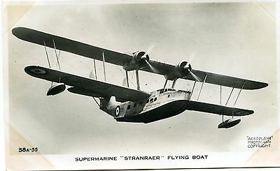 Supermarine Stranraer Flying Boat - Old Real Photo Postcard