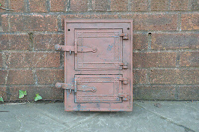 35 x 25.5 cm old cast iron fire bread oven door doors flue clay range pizza