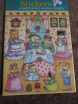 VTG TEA PARTY CAT'S STICKER AMERICAN GREETINGS New Unopened 4 sheets!