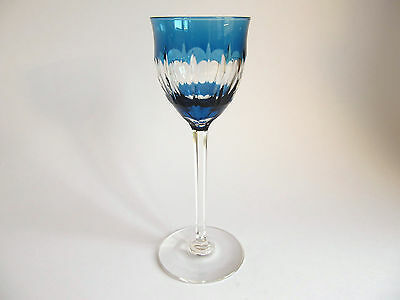 Bohemian or French Blue and clear cut wine glass. Super quality