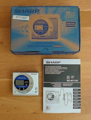 Sharp MD-MT15 Minidisc MD Mini Disc Portable Player / Recorder with Box & Manual