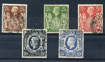 Weeda GB 249-251a VF used complete set of 1939-42 KGVI high values CV $34.75