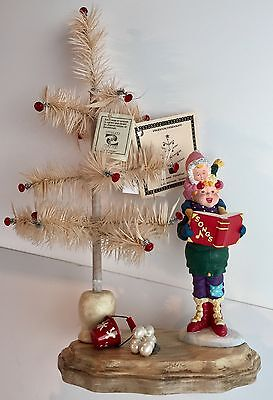 Joanne Hobbs Hand Made Goose Feather Christmas Tree and Caroler - 14 inches