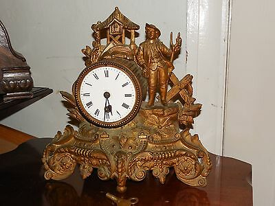 Antique French Mantle Clock with Fine Ormulu Styling and Wooden Stand