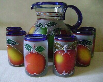Mexican Hand Blown Glass Pitcher Set of 6 Glasses Frosted & Painted Mixed Fruit