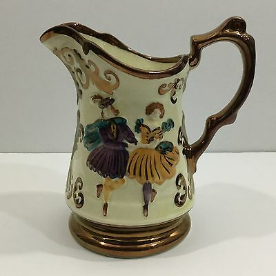 """Antique English Victorian Lusterware Pitcher """"The Dancers"""" Ca 1860s"""