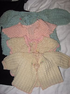 Vintage 1930's Lot of 4 Knitted Baby Sweaters Blue Pink Antique White