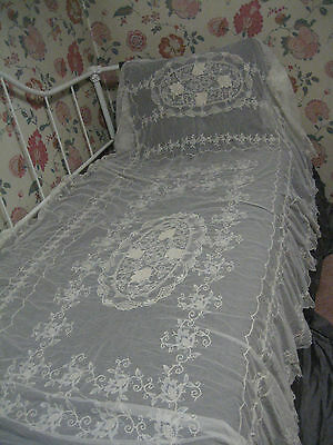 Antique French Tambour Net Lace Embroidered Bed Cover