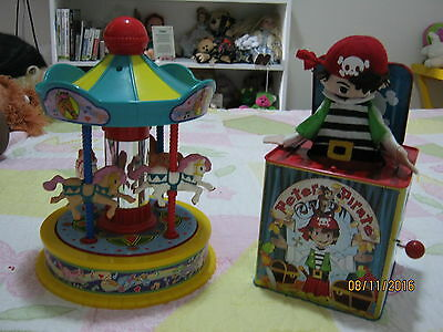 Childs Toy Musical  Horse Carousel and Wind up Jack in the Box Pick up only