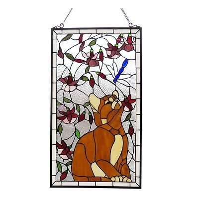 """Large Cat & Dragonfly Tiffany Style Stained Glass Window Panel  18"""" W x 31"""" H"""