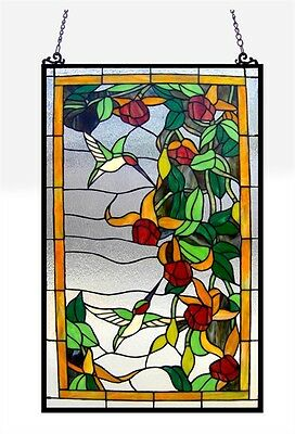 "Stained Glass Window Panel Hummingbirds 32"" Tall x 20"" Wide 333 Pieces Cut Glass"