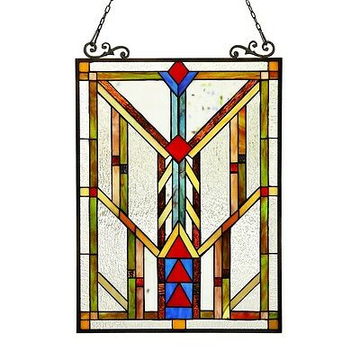 """Handcrafted Stained Glass Tiffany Style Window Panel Arts & Crafts 17.5"""" x 25"""""""