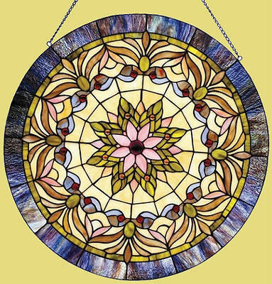 "Round Victorian Stained Cut Glass Window Panel 22"" Diamenter Suncatcher"
