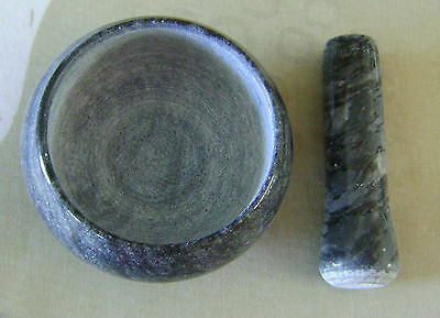 MORTAR AND PESTLE SET SOLID MARBLE Small for Herbs Spices Garlic Chilli Salt Etc