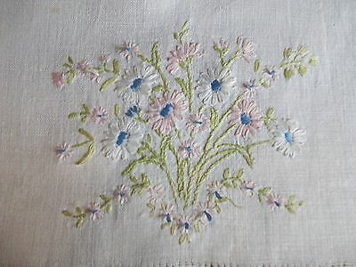 """VINTAGE WOVEN LINEN RUNNER ~ HAND EMBROIDERY ~ FLORAL ~ 14""""x42"""""""
