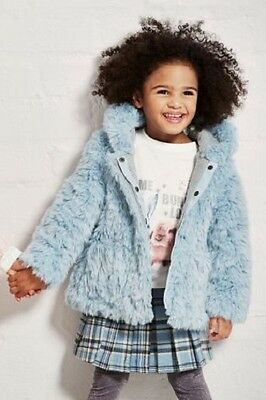 BNWT Next Girls Pale Blue Faux Fur Winter Coat Jacket 2-3 Years