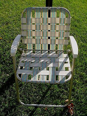 Vtg Webbed Aluminum Folding Lawn Chair Patio Beach Sports Brown Turquoise White