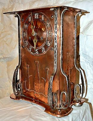 A HAC Copper Art's & Craft Mantle clock using Art Nouveau Styling