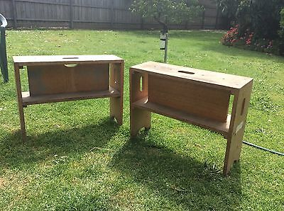 2 Timber Stools Steps Antique