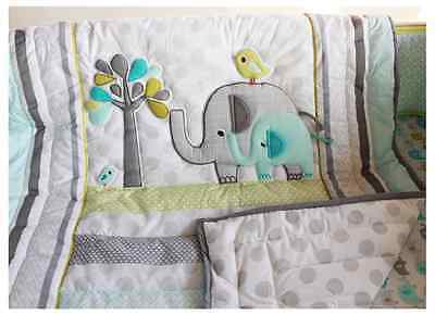 Elephant CRIB BEDDING Nursery SETS Infant Baby Boy 7PCS Quilt Bumper Sheet