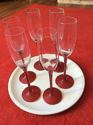 6x Red Stemed Champagne Flutes