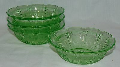 "4 Jeannette CHERRY BLOSSOM GREEN *4 3/4"" BERRY BOWLS*"