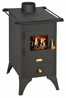 Estufa De Leña Retro Hierro Fundido One Plato Top Chimenea Mini 5kw