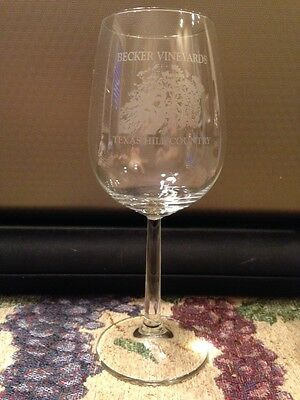 Becker Vineyards Stemmed Crystal Wine Glass Stonwall Texas Hill Country Winery