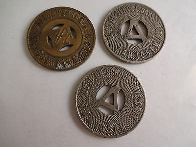 Vintage Lot of 3 Albuquerque Bus Co School Bus Tokens 2 Different New Mexico