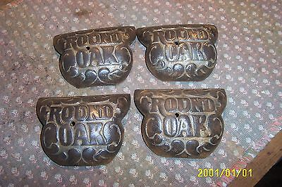 antique cast iron  parlor stove round oak 18 C D E solid cast leg caps set of 4