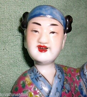 Vintage Chinese Famille Rose Porcelain Figurine SIGNED boy water  9in tall