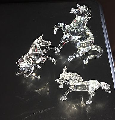 3 CRYSTAL GLASS FIGURINES HORSES Hand Blown