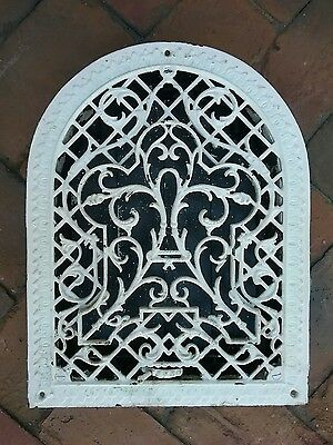 Antique Cast Iron Arch Top Victorian Dome Heat Grate Wall Register 14.75 X  11.5