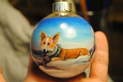 Original Painting~Welsh Pembroke Corgi~Dog~Christmas Ornament~Hand Painted~Candy