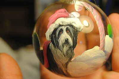 Original Painting~Bearded Collie~Dog~Christmas Ornament~Hand Painted~Candy Cane