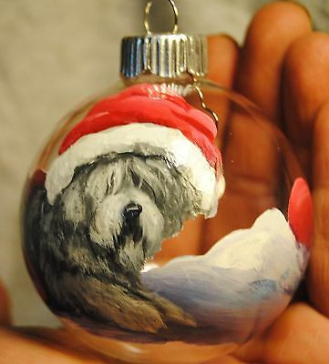Original Painting~Old English Sheepdog~Dog~Christmas Ornament~Hand Painted~Candy